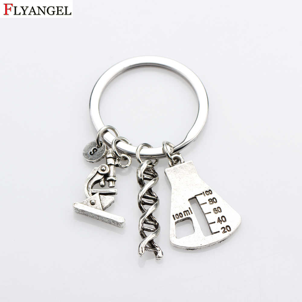 Creative Microscope Helix DNA Biological Unique Keychain Science Biology Chemistry Teacher Graduates Gift Keyring
