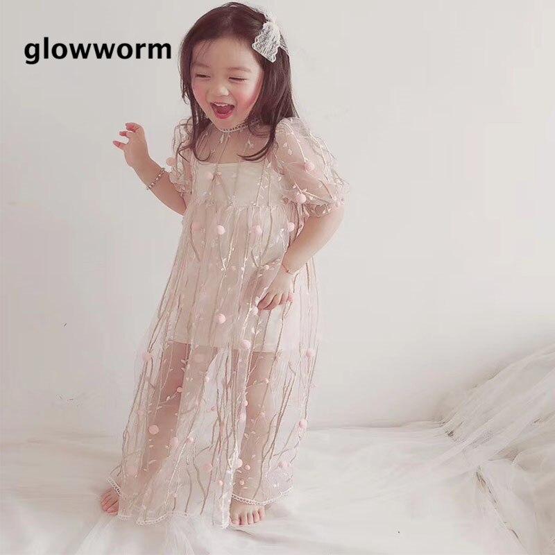 GlowwormKids Girls Dress 2018 New Summer Party Birthday Long Dress Liffle fur Children Clothing 2-7T hs016
