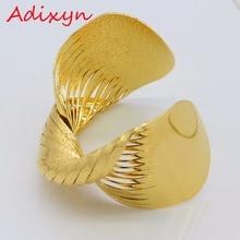 Adixyn Gold Twisted Bangle for Women Gold Color & Copper Bracelet Dubai Ethiopia Wide Wedding Africa Arab Jewelry N01191