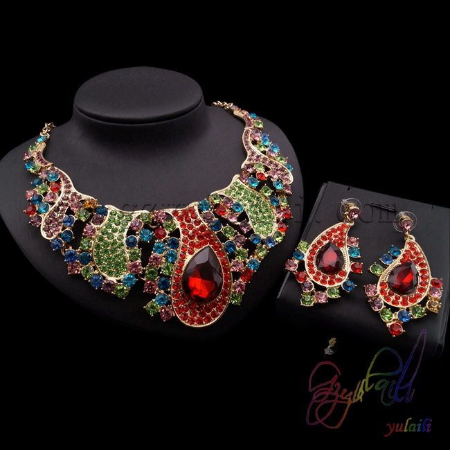цены на 2015 Pakistani bridal jewelry sets red and green christmas party dress jewellery set free shipping