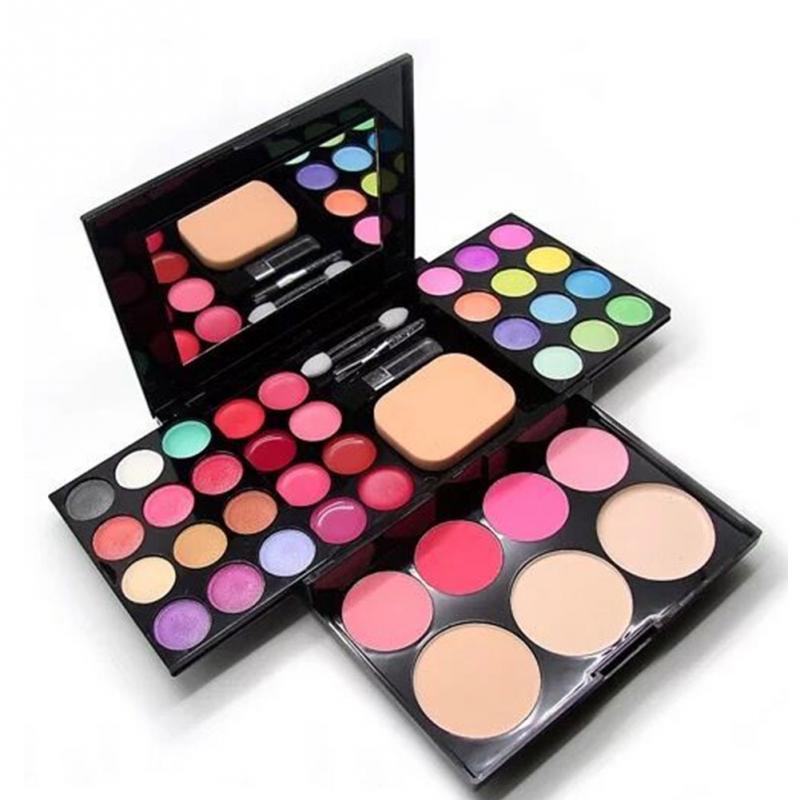 Makeup Set 24 Color Eyeshadow Palette + 4 Color Blusher +6 Lip Gloss +3 Color Puff Cake Cosmetics Kit Maquiagem Completa #20