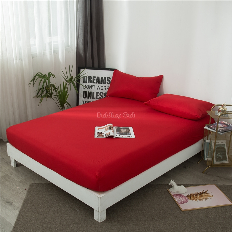 China Red Solid Color Fitted Sheet 1pcs Bed Sheet With Elastic Rubber Band Mattress Cover 90*200cm 150*200cm 180*200cm 200*220cm