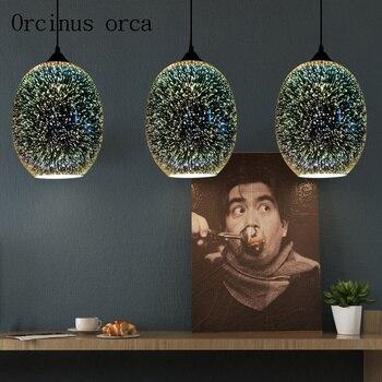 3D стеклянная Подвесная лампа для ресторана, лампа для гостиной, бар для спальни, арт-лампа для бара, креативная личность, ретро промышленное ...