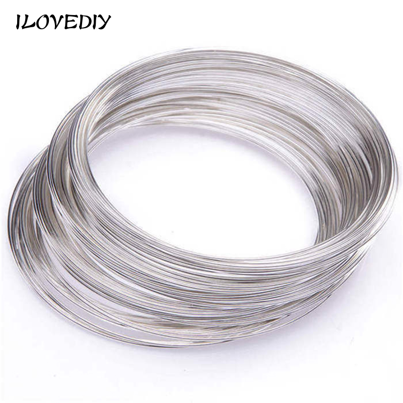 100 Loops 0.6MM Round Memory Steel Wire For Charm Cuff Bangle Bracelet fit bracelet DIY making