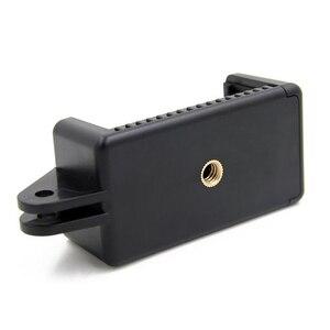 Image 5 - נייד שחור מצלמה אבזר מתכוונן הר עם 1/4 בורג חור טלפון מחזיק Stand סוגר קליפ חצובה מתאם עבור GoPro