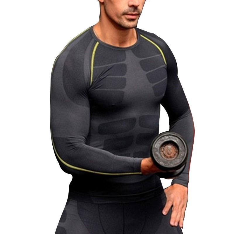 Moški kompresijski sloj Osnovni športni srajci z dolgimi rokavi Fitness GYM Tops M-XL Nova brezplačna ladja