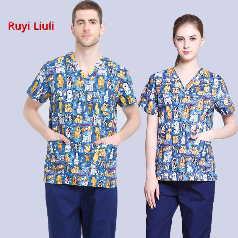RYLL-Veterinary Workwear Puppy Pattern Printing Surgical Gown Medical Professional Uniform Set Pet Hospital Doctor Nurse Uniform