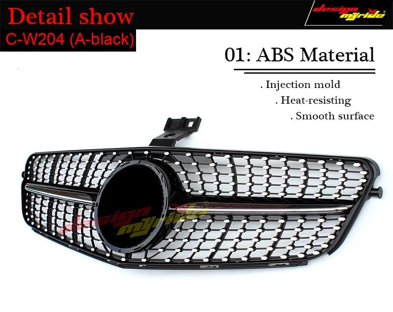 For Mercedes Benz W204 Diamond grille C180 C200 C250 C350 C400 C450 C300  Auto bumper replacement parts Front grille mesh 2007-14