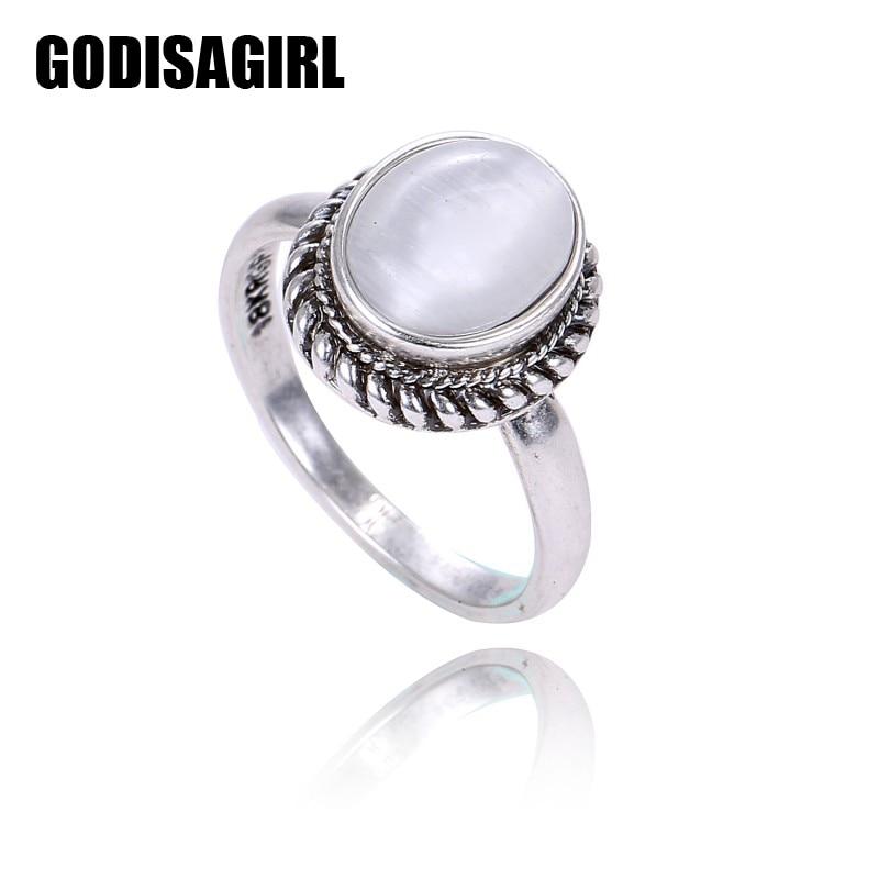 Elegáns Vintage ezüstözött ovális természetes kő opál gyűrűk esküvői ékszerek elkötelezettség Promise Retro gyűrűk