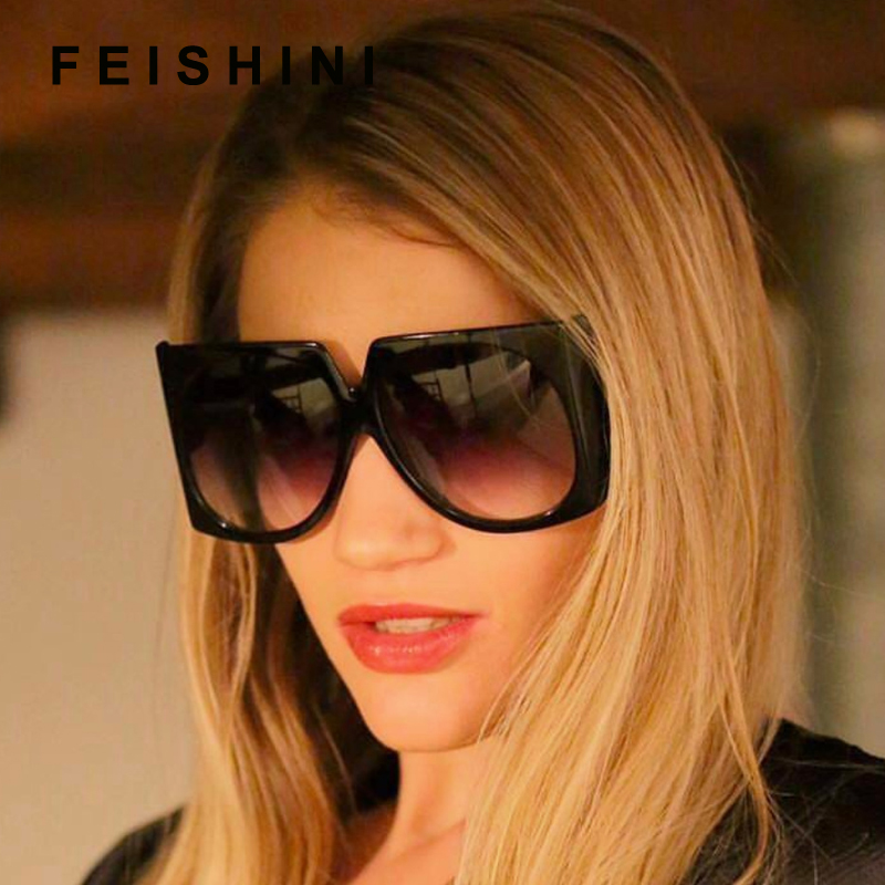 FEISHINI Brand Metal Pattern Hollow Legs oculos de sol feminino ladies Superstar Large Sunglasses Women Square Vintage black