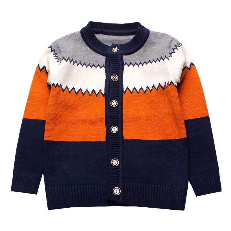 2016 Boys Sweaters Striped Cotton Top Knit Infant Outfit With Button Boy Tee Winter Warm Outerwear Cute Kids Clothes Cardigans (3)
