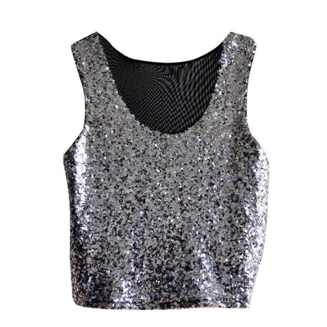 Summer Sexy Women Paillette Camisole Crop Top Sequins Tank Top Vest  Sleeveless Blouse T-Shirt Shining dce24b037345