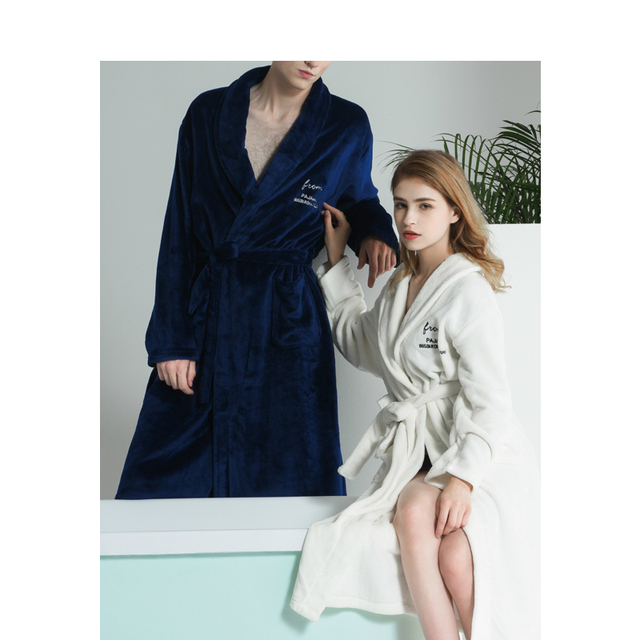 d0a90472e8 Men Women Autumn Winter Flannel Bathrobes Couple Nordic Style Luxury  Embroidered Robes for Male Female Home Warm Nightgown