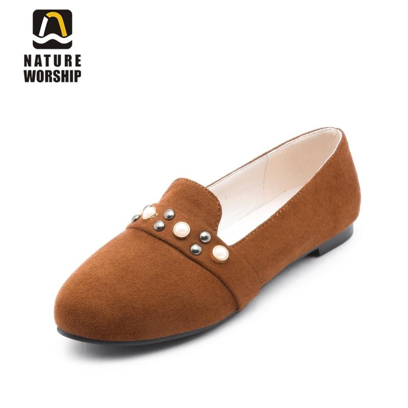 Grande taille chaussures femmes nubuck cuir femmes chaussures plates été automne mocassins mode perle chaussures sans lacet peu profonde chaussures décontractées