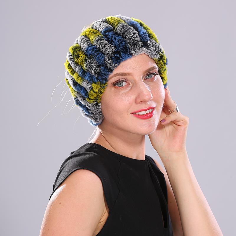 Women Headband Winter Knit Natural Rex Rabbit Fur Headbands For Girls Real Fur Neck Scarf Hair Neckwarmer