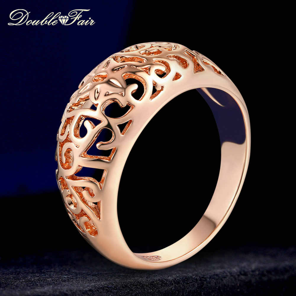 Double Fair Hollow Flowers Anti Allergy Rings Silver/Rose Gold Color Fashion Brand Party Jewelry For Women HotSale DFR281M