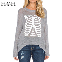 HYH HAOYIHUI 2016 Brand New Autumn Women Sweater Skeleton Print Crew Neck Long Sleeve Pullover Solid Gray Knitting Sweater crew neck long sleeve 3d tiger print sweater