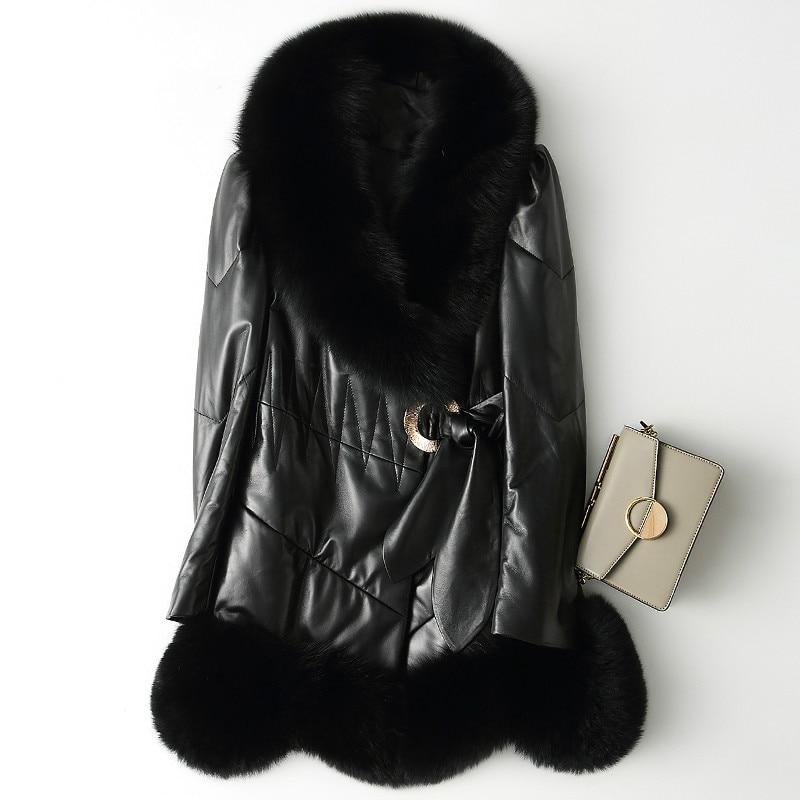 Fox Fur Collar Sheepskin Down Coat Autumn Winter Real Genuine Leather Jacket Women Clothes 2019 Korean Chaqueta Mujer X-235 2974