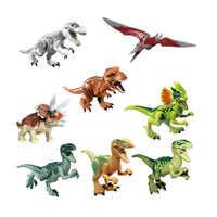 Nuevos 6 piunids/lote tyrannosaures Rex dinosaurios Jurassic dinosaurio mundo cristal bloques de construcción juguetes educativos para niños HY1110