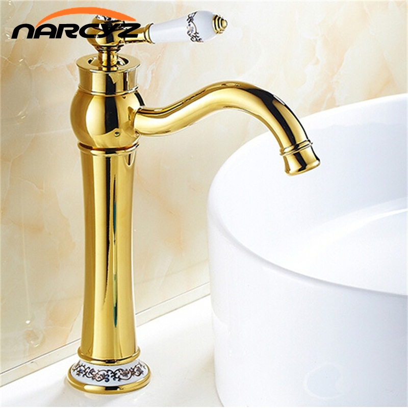 Luxury Golden Finished Copper Hot and Cold with Diamond and Porcelain Deck Mounted Basin Mixer Taps