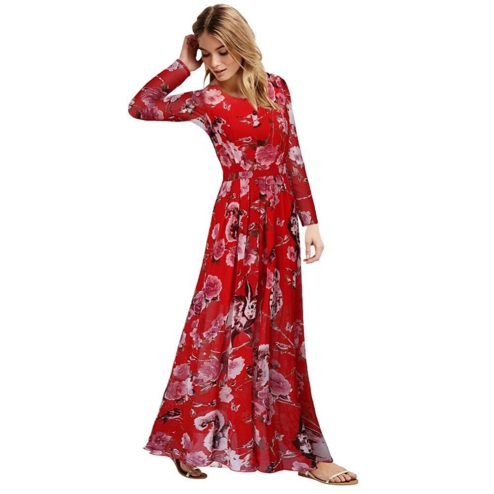 8ecdc24307c Summer Style Women Chiffon Owl Floral Long Sleeve Prom Maxi Dress Bohemina  Chiffon Long Elegant dress Plus Size L- XXXXXXL