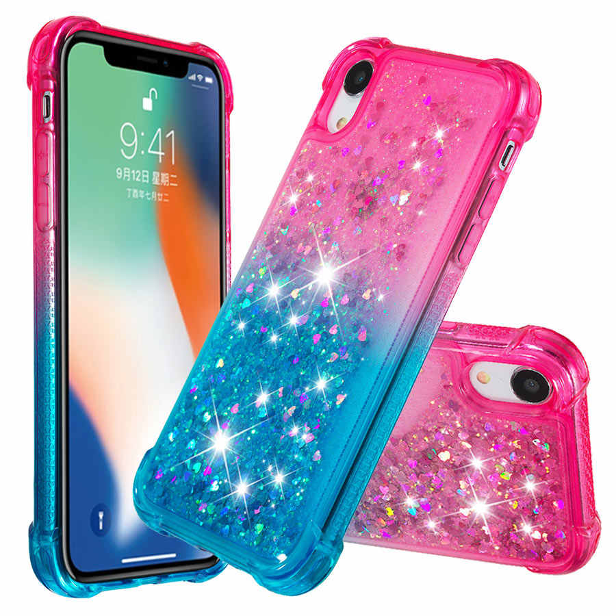 IQD Glitter Case for iphone X XR XS MAX Cover Girls Women Cute TPU 6 6s 7 8 Plus Case Floating Liquid Quicksand Protective Shell