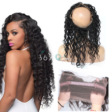 7A Soft 360 Full Lace Frontal Closure Brazilian Virgin Hair Loose Deep Curly #1B Natural Hairline With Adjustable Straps