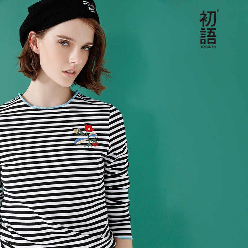 Toyouth Borduren Bloem T-shirts Voor Vrouwen Classic Gestreepte Lange Mouw Herfst Tops Casual Ronde Hals T-shirt Katoen Tees Doek