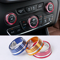 Car Styling 5PCS/SET Aluminum Air Conditioning Heat Control Switch knob AC Horn Ring Decoration Internal Case For Jeep Cherokee