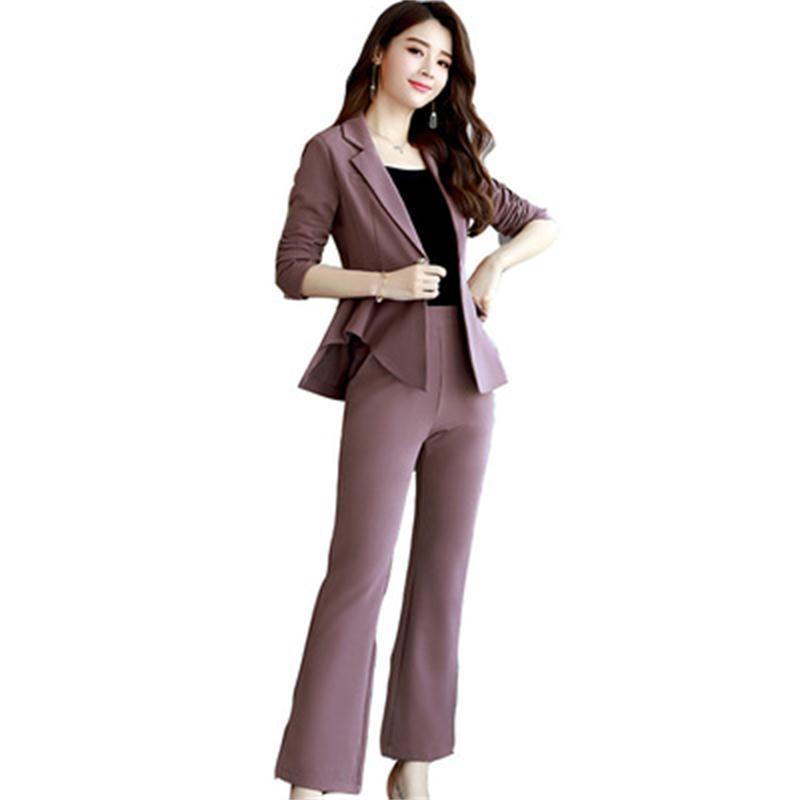 Fashion Pant Suits Women Autumn New Fashion Professional Suit Suit Female Ladies Temperament Slim Thin Micro Bell Pants Two Sets