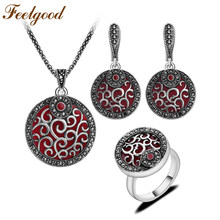 Feelgood Jewellery Red Resin And Black Crystal Round Pendant Necklace Set Antique Silver Color Fashion Jewelry Sets For Women(China)