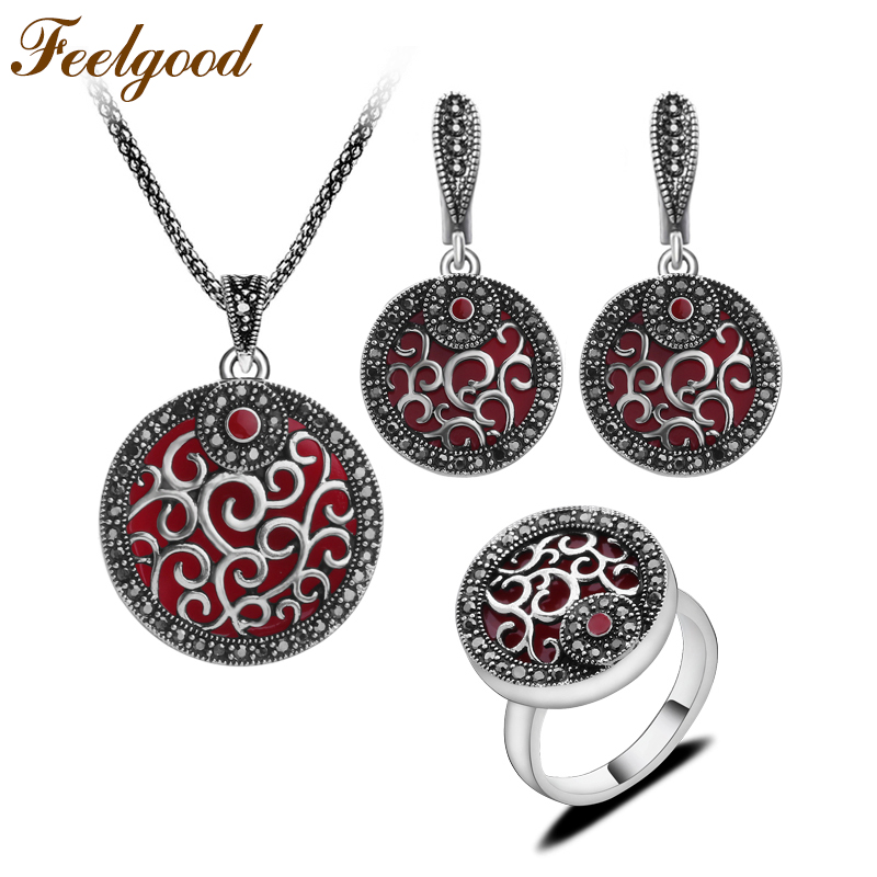Feelgood Jewellery Red Resin And Black Crystal Round Pendant Necklace Set Antique Silver Color Fashion Jewelry Sets For Women dr feelgood