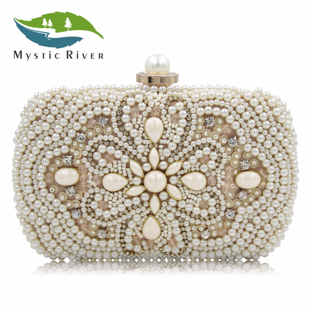 MR Designer Flower Beaded Bag White Handbag Pearl Bags Women Clutch Black Evening Clutches Ladies Wedding Purse With Chain fashion box evening bag oil painting flower black lock clutch bag strap mini tote bag ladies purse trunk white women handbags