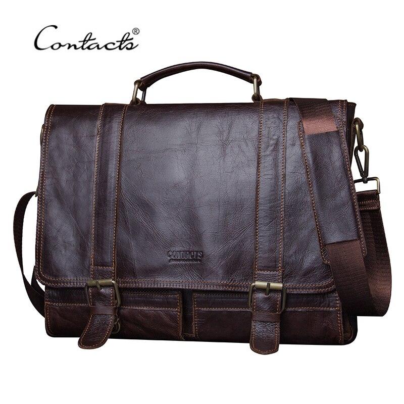 CONTACT'S 2019 Men Retro Briefcase Business Shoulder Bag Leather Handbag Bag Computer Laptop Messenger Bags Men's Travel Bags
