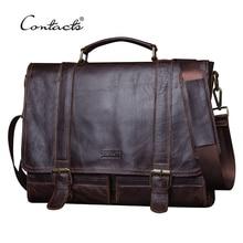 CONTACTS 2020 Men Retro Briefcase Business Shoulder Bag Leather Handbag Bag Computer Laptop Messenger Bags Mens Travel Bags