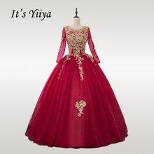 Это YiiYa свадебное платье Золотое кружевное с круглым вырезом бордовое свадебное платье es с длинным рукавом размера плюс мусульманское Vestido de novia CH239