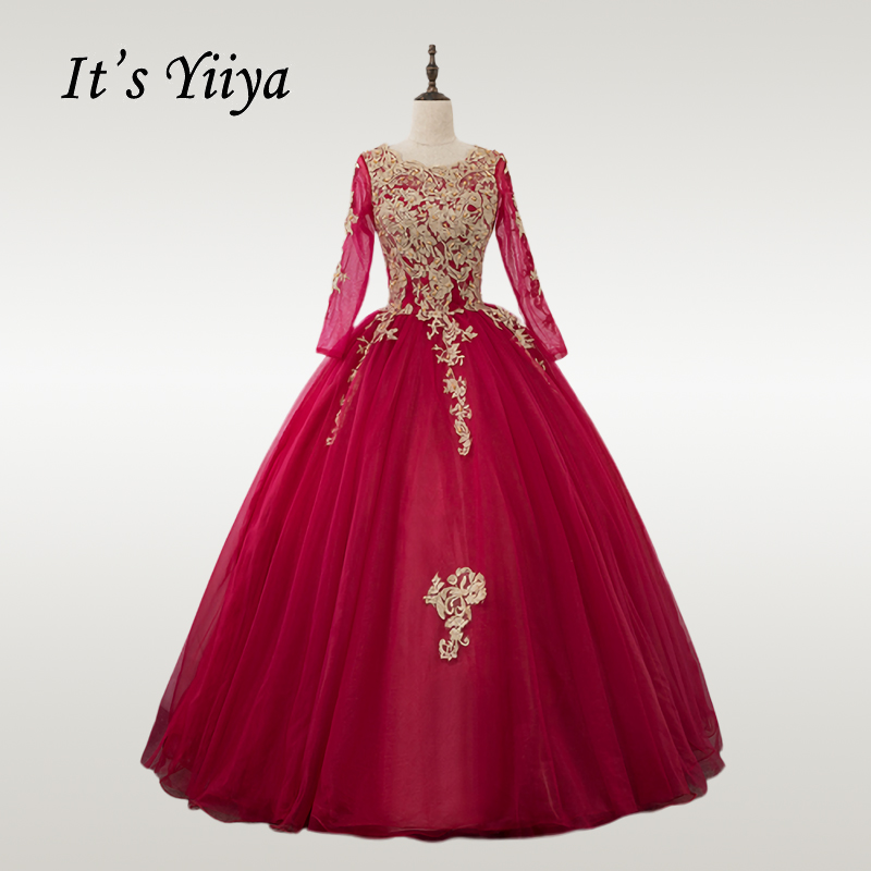 It's YiiYa Wedding Dress Gold Lace O-neck Burgundy Wedding Dresses Long Sleeve  Plus Size Muslim Vestido De Novia CH239