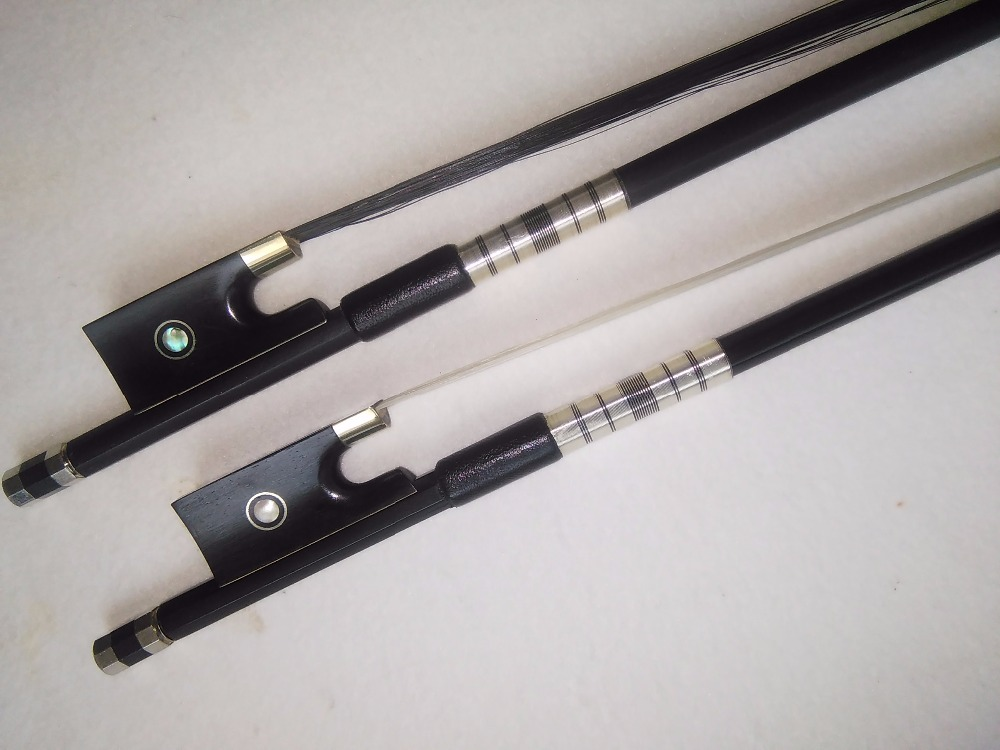2 PCs Carbon Fiber Violin bow 4/4 One with black hair and one with white hair ebony frog double abalone shell 4pcs of violin carbon fiber bow 4 4 nickel copper amounted with ebony frog white bow hair tail