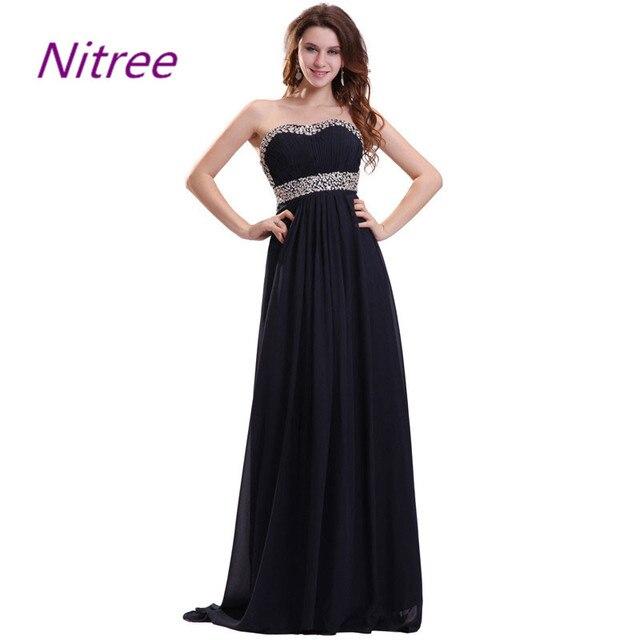 409440a9b Largo Negro Vestidos de Dama de Gasa Del Cuello Del Amor de Las Colmenas de  La