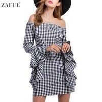 ZAFUL Women Fashion Street Checked Summer Dress Off Shoulder Irregular Long Sleeves Chic Dress Sexy A