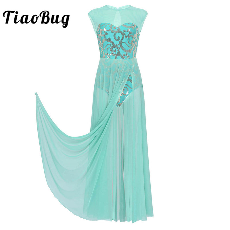 TiaoBug Floral Sequins Sleeveless Adult Modern Contemporary Lyrical Dance Costumes Gymnastics Ballet Leotard Women Long Dress