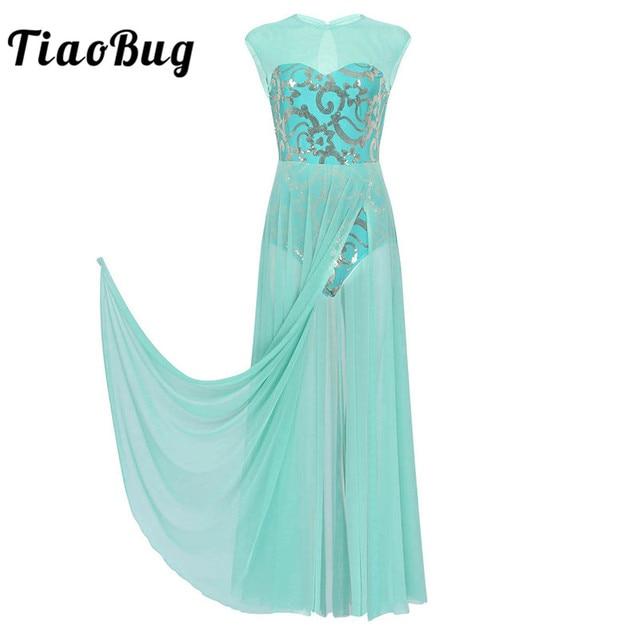 TiaoBug פרחוני פאייטים שרוולים למבוגרים מודרני עכשווי ריקוד לירי תלבושות התעמלות בלט בגד גוף נשים ארוך שמלה