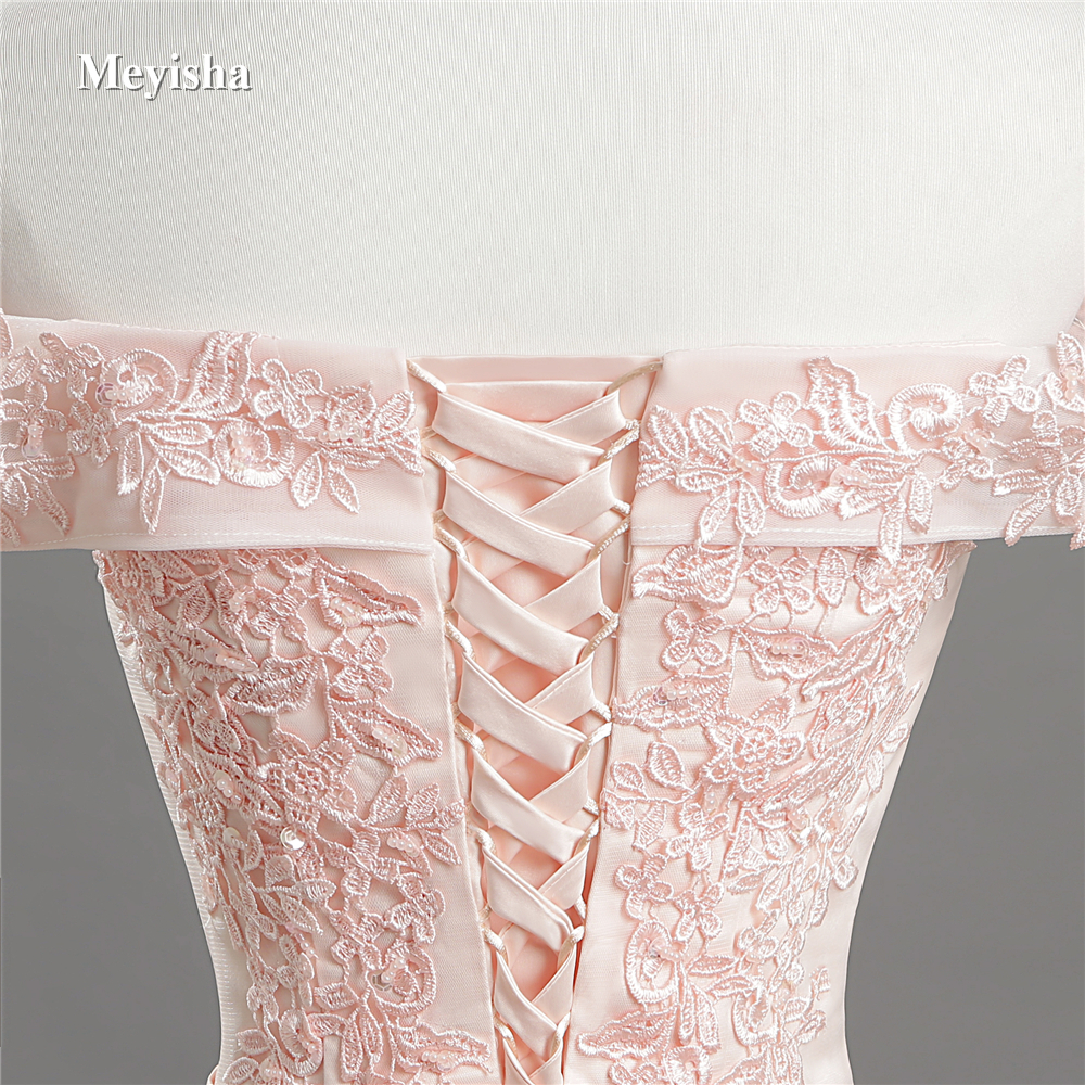 ZJ7027 Sexy Off Shoulder Lace Long Red Pink Prom Dresses 2018 Formal Party Dress For Graduation Plus Size Customer Made 5