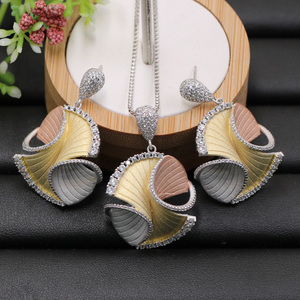 Image 2 - Lanyika Jewelry Set Abstract Geometry Pattern Necklace with Earrings for Woman Engagement Sandblasting Popular Luxury Best Gifts