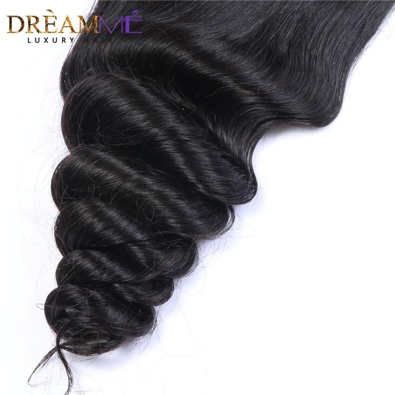 Dreamme 헤어 루즈 웨이브 페루 레미 헤어 실크베이스 - 인간의 머리카락 (검은 색) - 사진 5