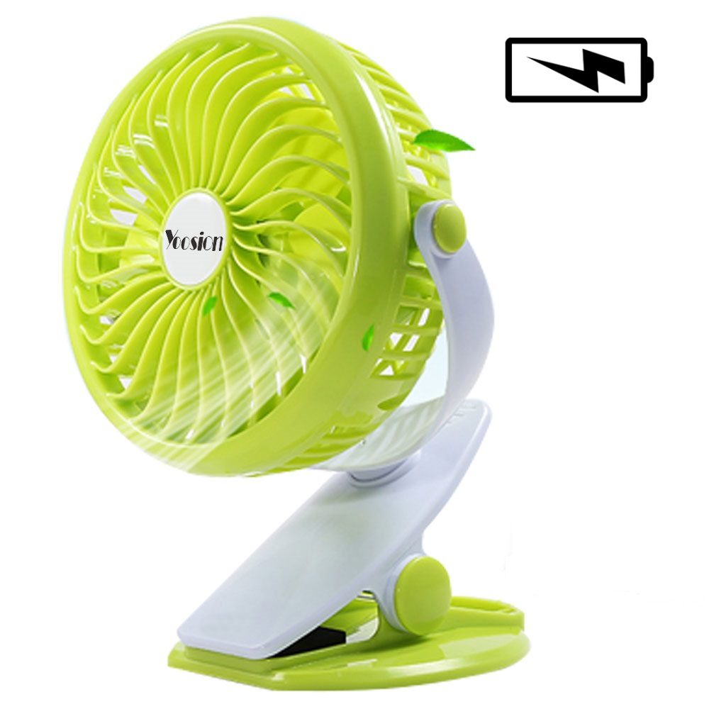 Yoosion Rechargeable Battery USB Mini Fan Silent 4 Blades Desk Mini Portable Air Cooling Blower Portable USB Clip Stand Table