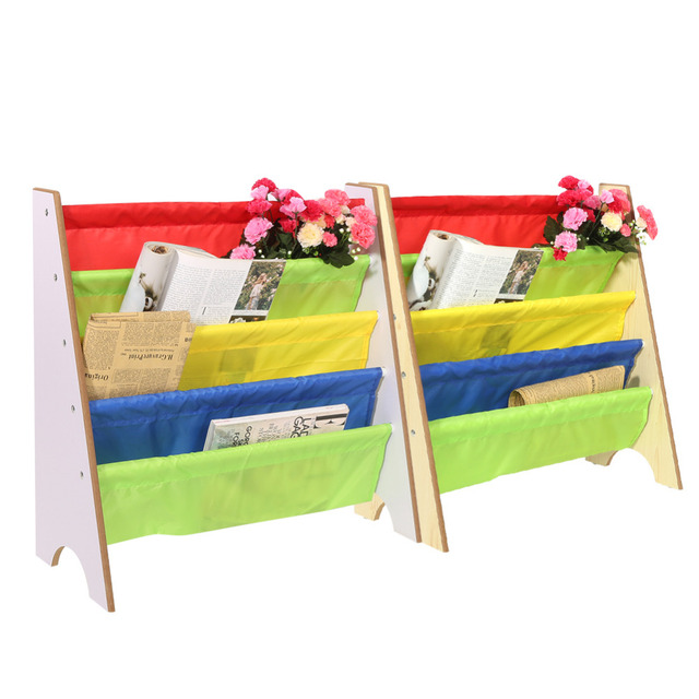 Book Shelf Children Furniture Kids Bookcase Toy Storage Rack Pocket Wooden Bookshelf Home Decor