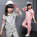 2016 Девушки хлопок моды с длинными рукавами костюм Корейских детей ленты отдыха и спорта из двух частей комплект одежды для малыша девушки