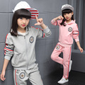 2016 Girls cotton fashion long-sleeved suit Korean children ribbon leisure and sports two piece clothing set for kid girls