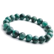 цена Genuine Natural Green Emerald Crystal Round Beads Bracelet Gemstone Crystal 9mm Women Stone Rarest Bracelet Jewelry AAAAA онлайн в 2017 году